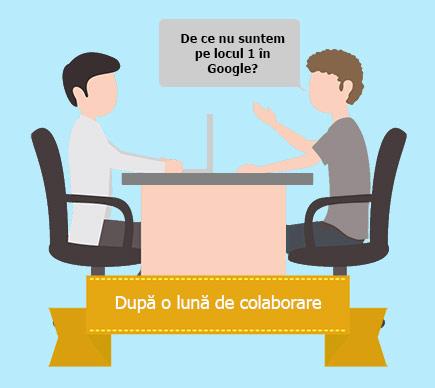 Discuție tipică între un client și un furnizor de servicii SEO. De ce încă nu suntem primii în Google?